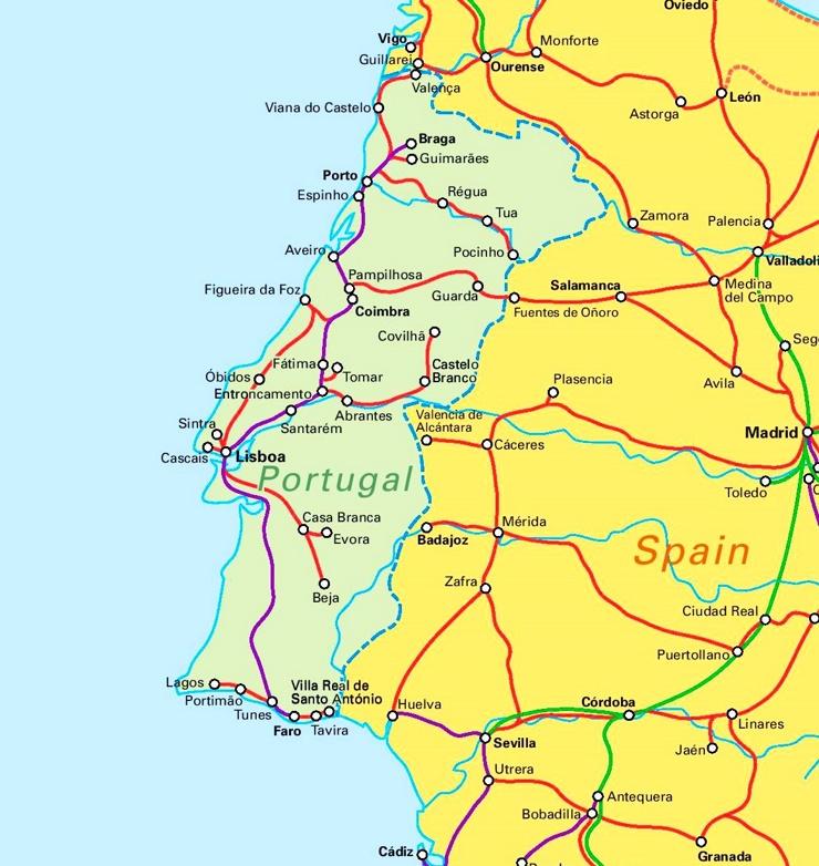 Schienennetz karte von Portugal