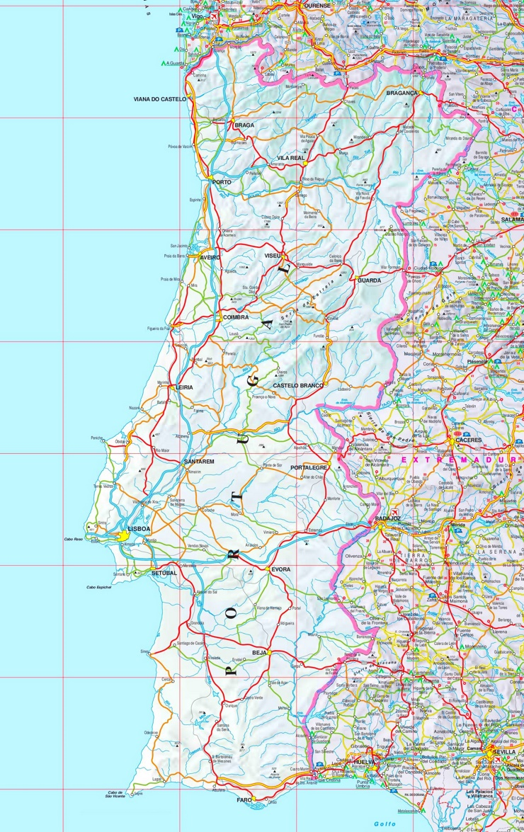Straßenkarte von Portugal
