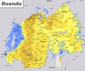 Physische landkarte von Ruanda