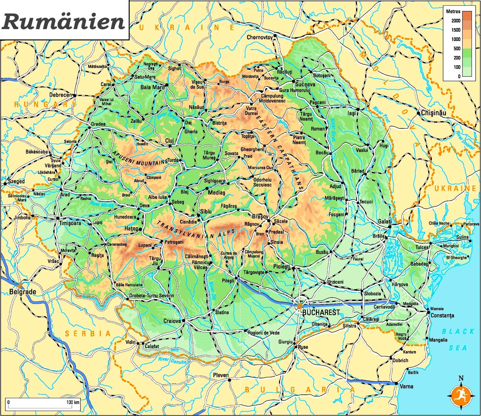 Physische Landkarte Von Rumanien