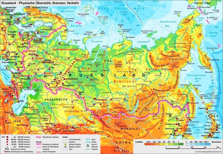 Physische landkarte von Russland