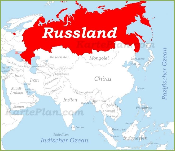 Russland auf der karte Asiens