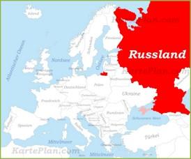 Russland auf der karte Europas