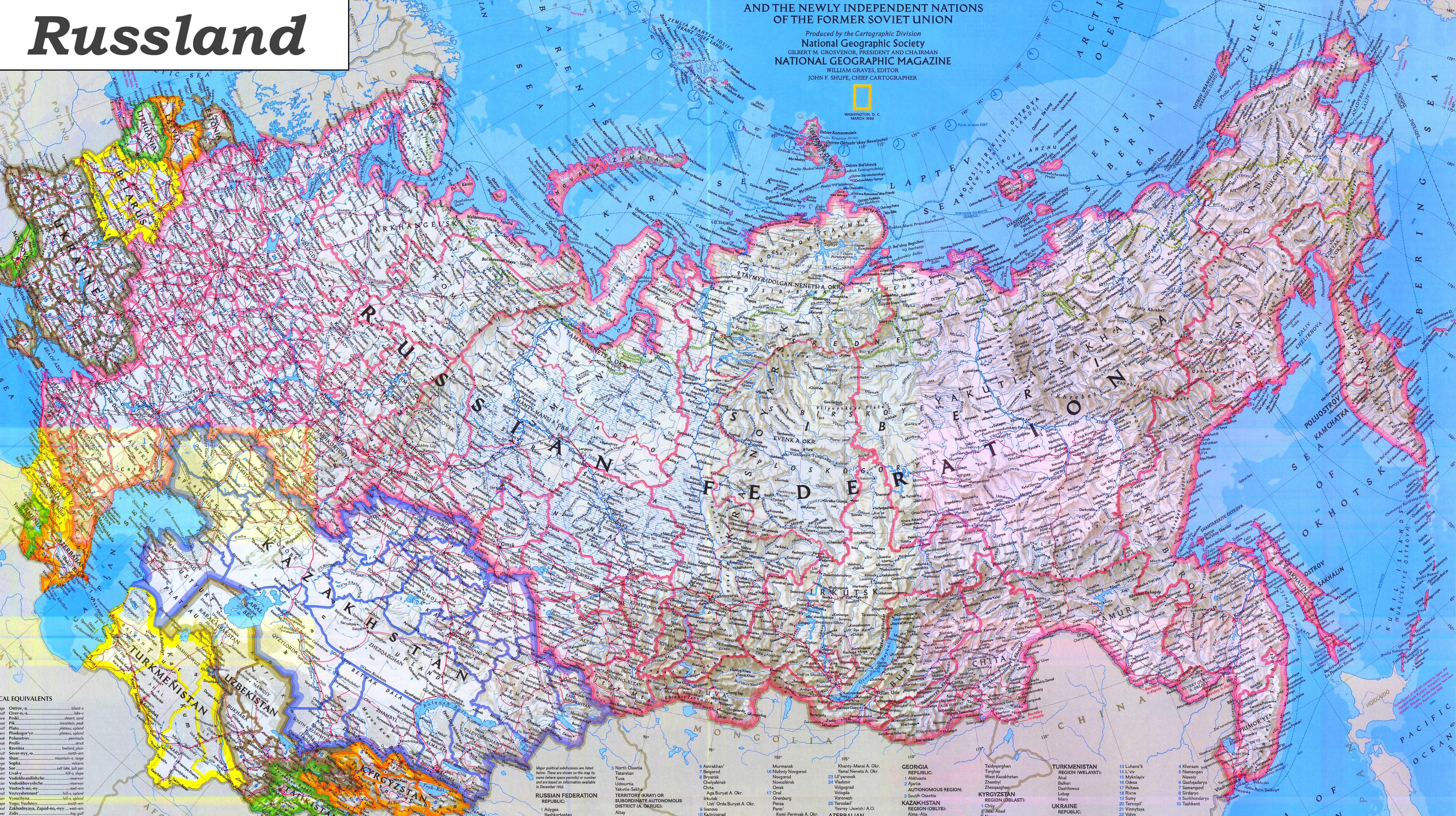 Karte Russland.Russland Karte Mit Stadten