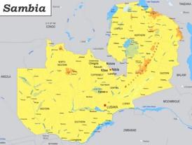 Physische landkarte von Sambia