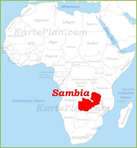 Sambia auf der karte Afrikas