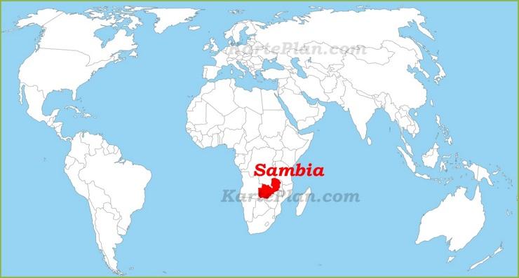Sambia auf der Weltkarte