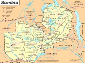 Sambia politische karte