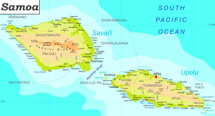 Detaillierte karte von Samoa