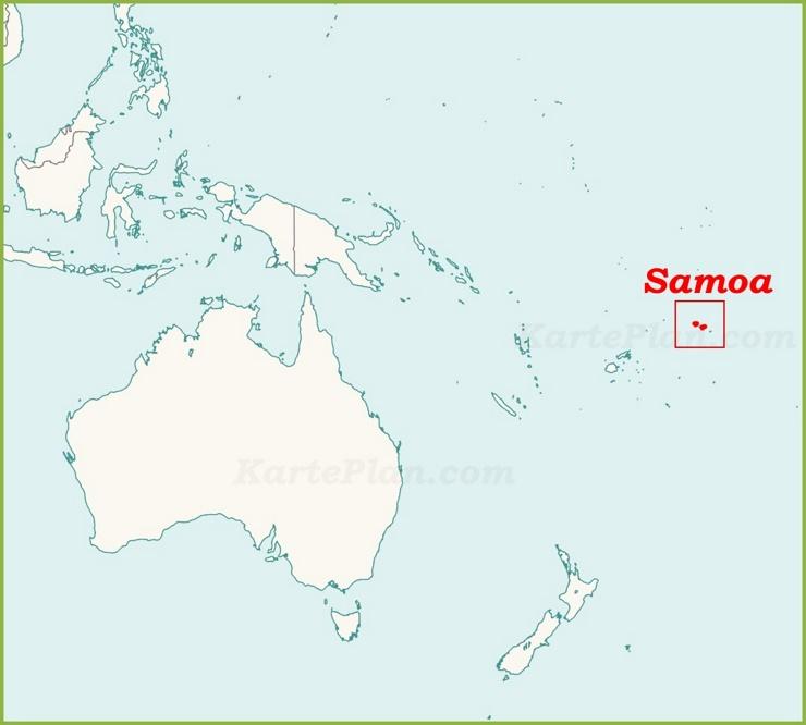 Samoa auf der karte Ozeaniens