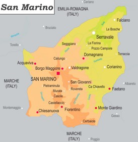 Physische landkarte von San Marino
