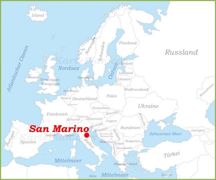 San Marino auf der karte Europas