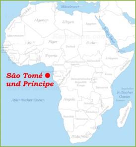 São Tomé und Príncipe auf der karte Afrikas
