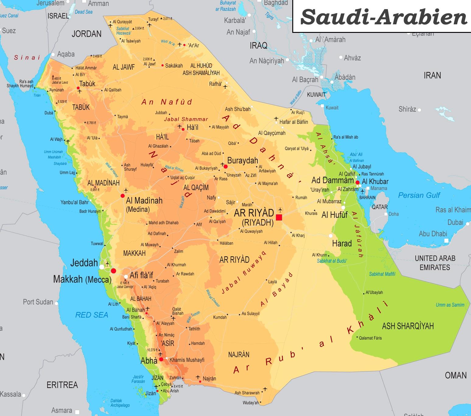 Detaillierte Karte Von Saudi Arabien