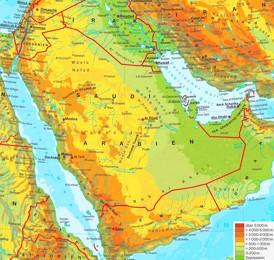Physische landkarte von Saudi-Arabien