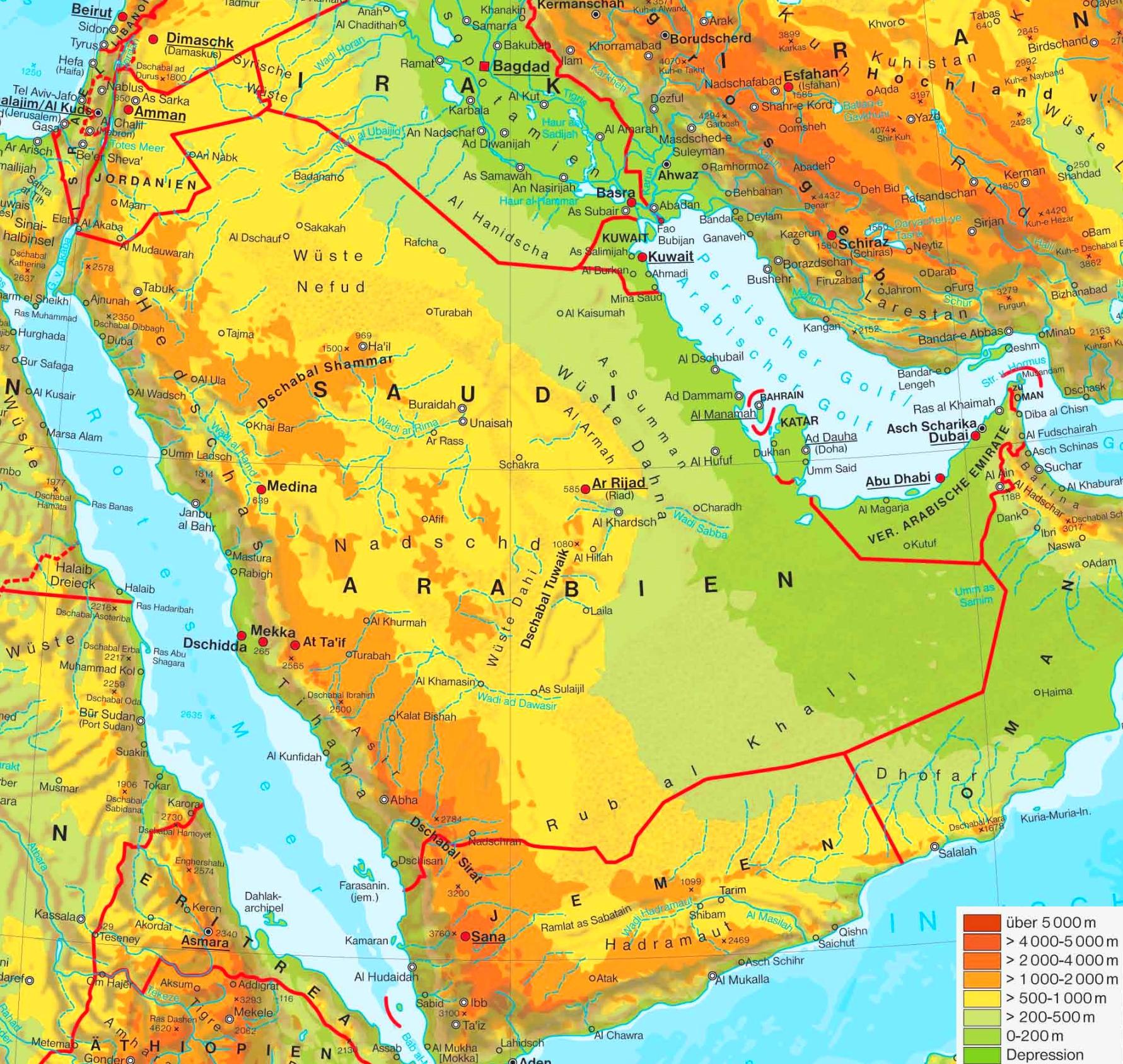 Physische Landkarte Von Saudi Arabien