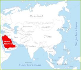Saudi-Arabien auf der karte Asiens
