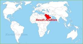 Saudi-Arabien auf der Weltkarte
