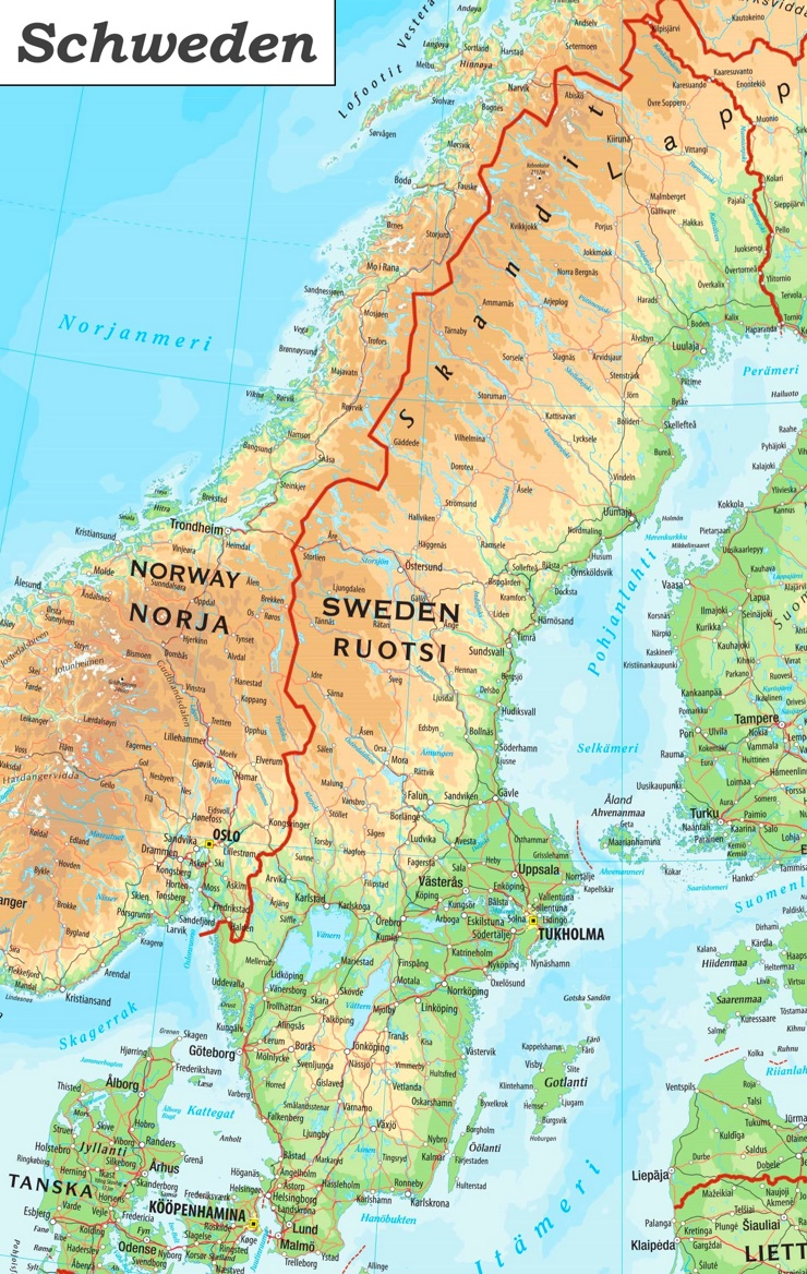 Detaillierte karte von Schweden