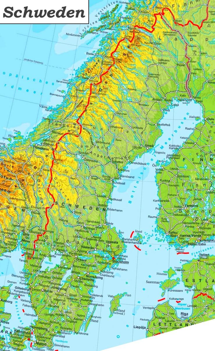 Physische landkarte von Schweden
