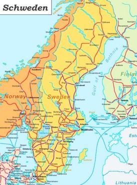 Schienennetz karte von Schweden