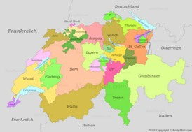 Politische karte der Schweiz