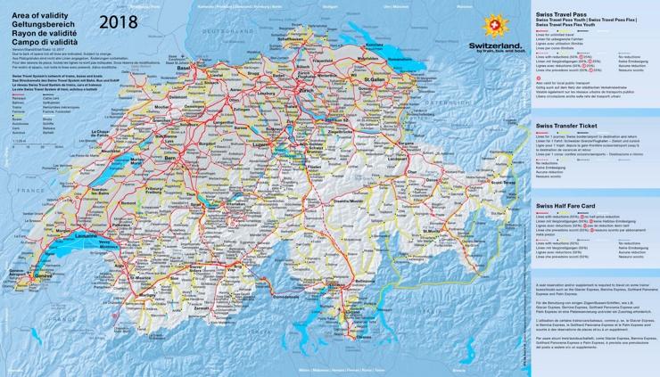 Schienennetz karte der Schweiz