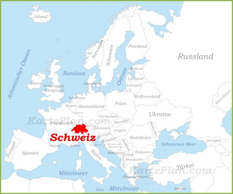 Schweiz auf der karte Europas