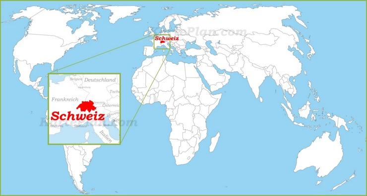 Schweiz auf der Weltkarte