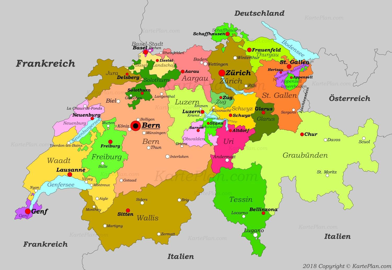 Bodensee Karte Schweiz.Schweiz Karte Mit Stadten