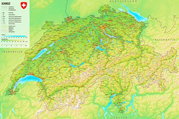 Straßenkarte der Schweiz