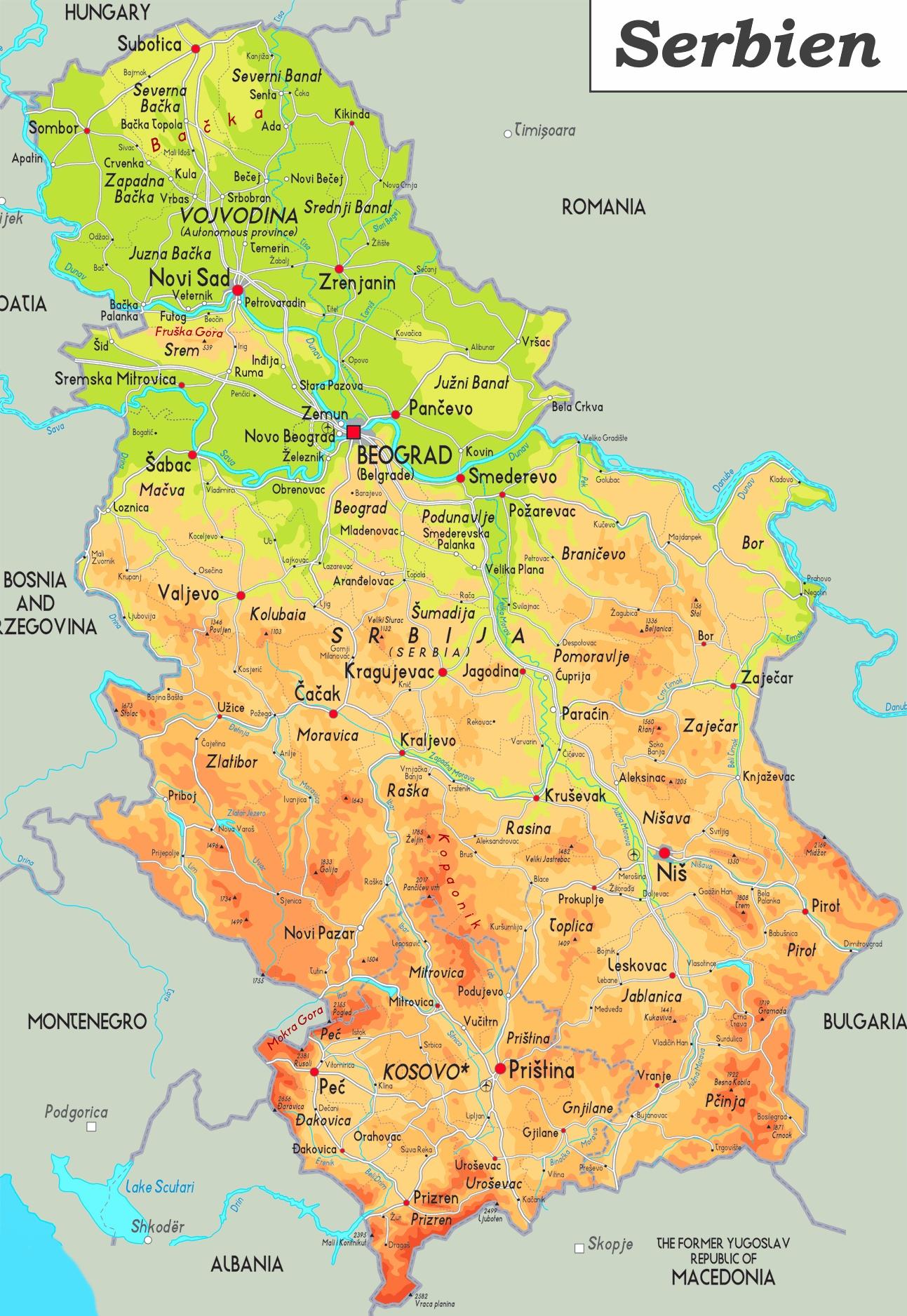 Physische Landkarte Von Serbien