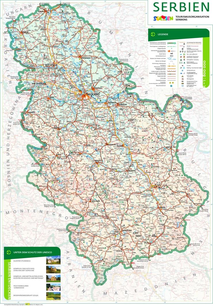 Serbien touristische karte