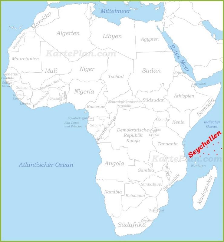 Seychellen auf der karte Afrikas
