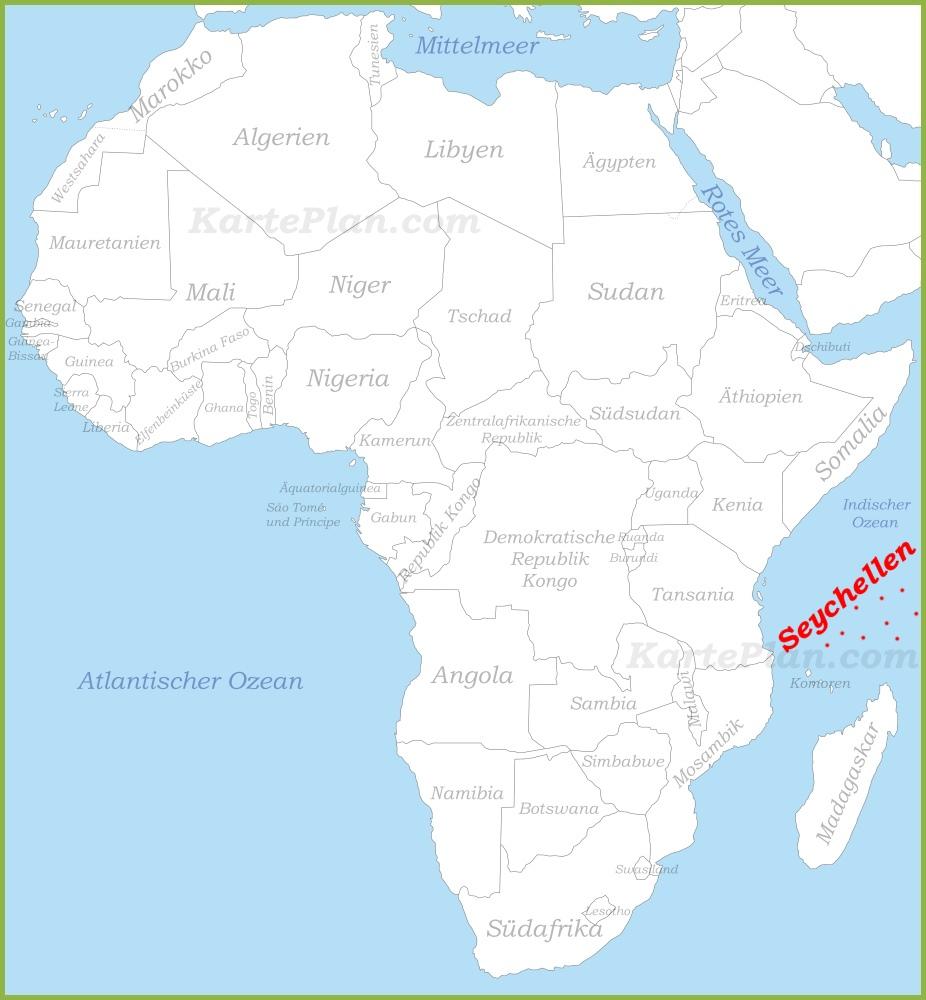 Seychellen Karte Afrika.Seychellen Auf Der Karte Afrikas