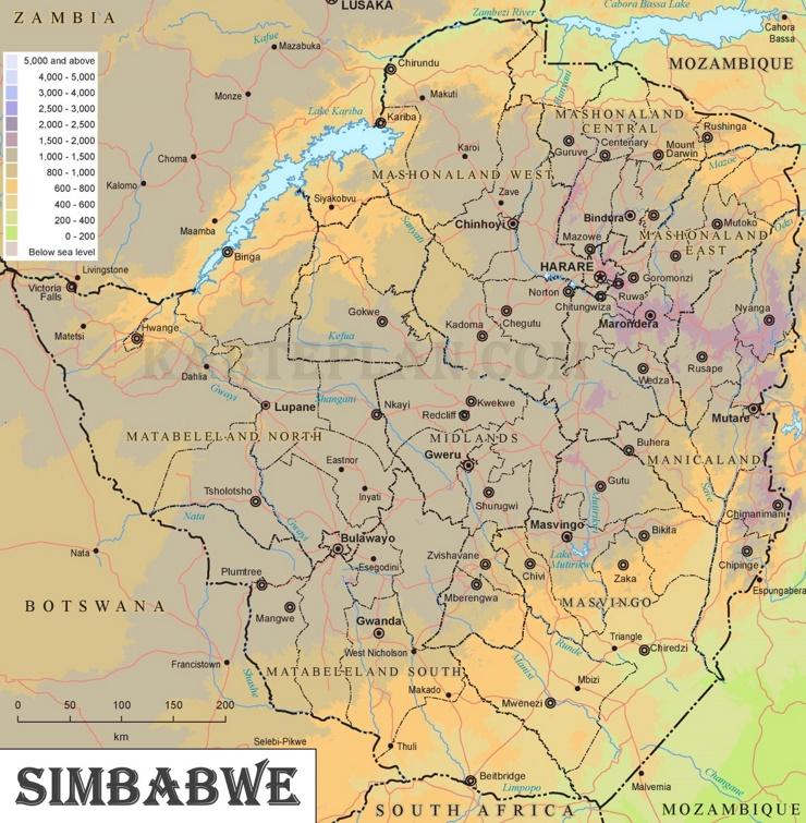 Physische landkarte von Simbabwe