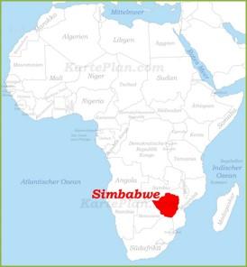 Simbabwe auf der karte Afrikas