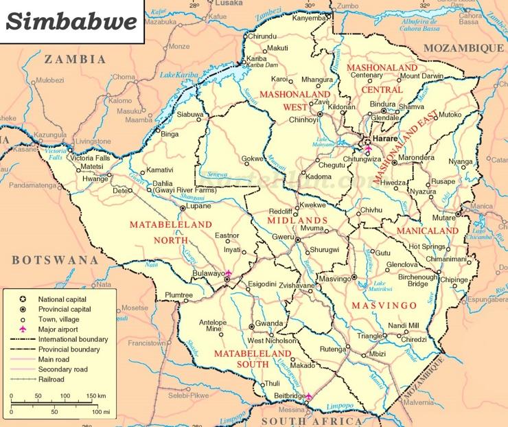 Simbabwe politische karte