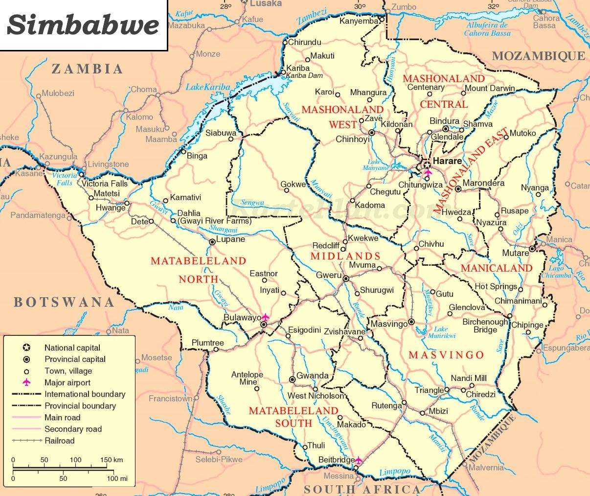 simbabwe karte Simbabwe politische karte