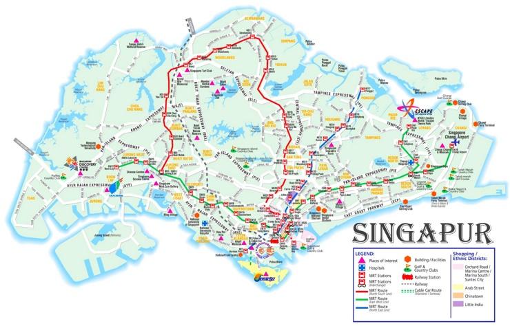Singapur MRT touristische karte