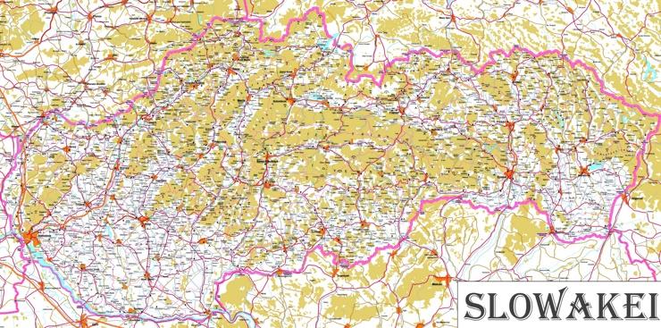 Große detaillierte karte von Slowakei