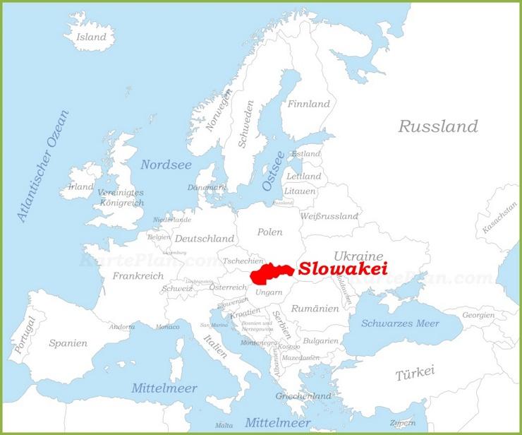Slowakei auf der karte Europas