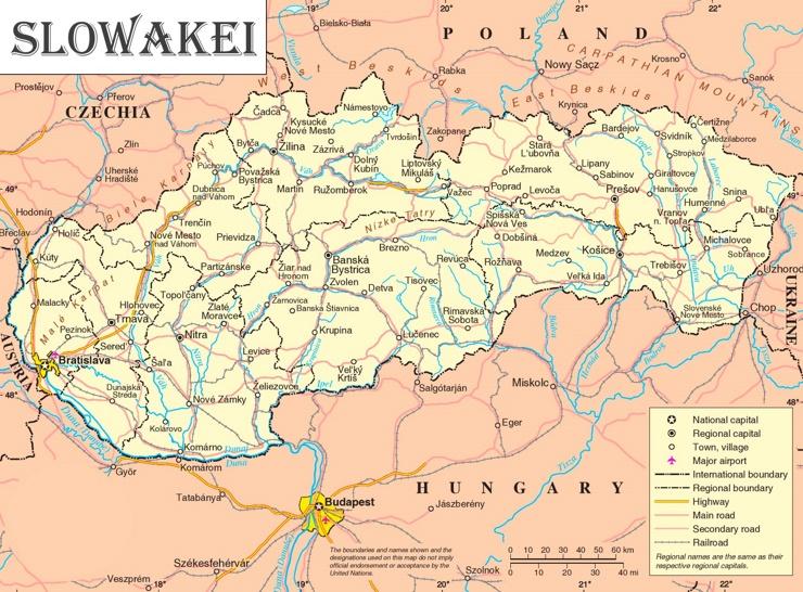 Slowakei politische karte