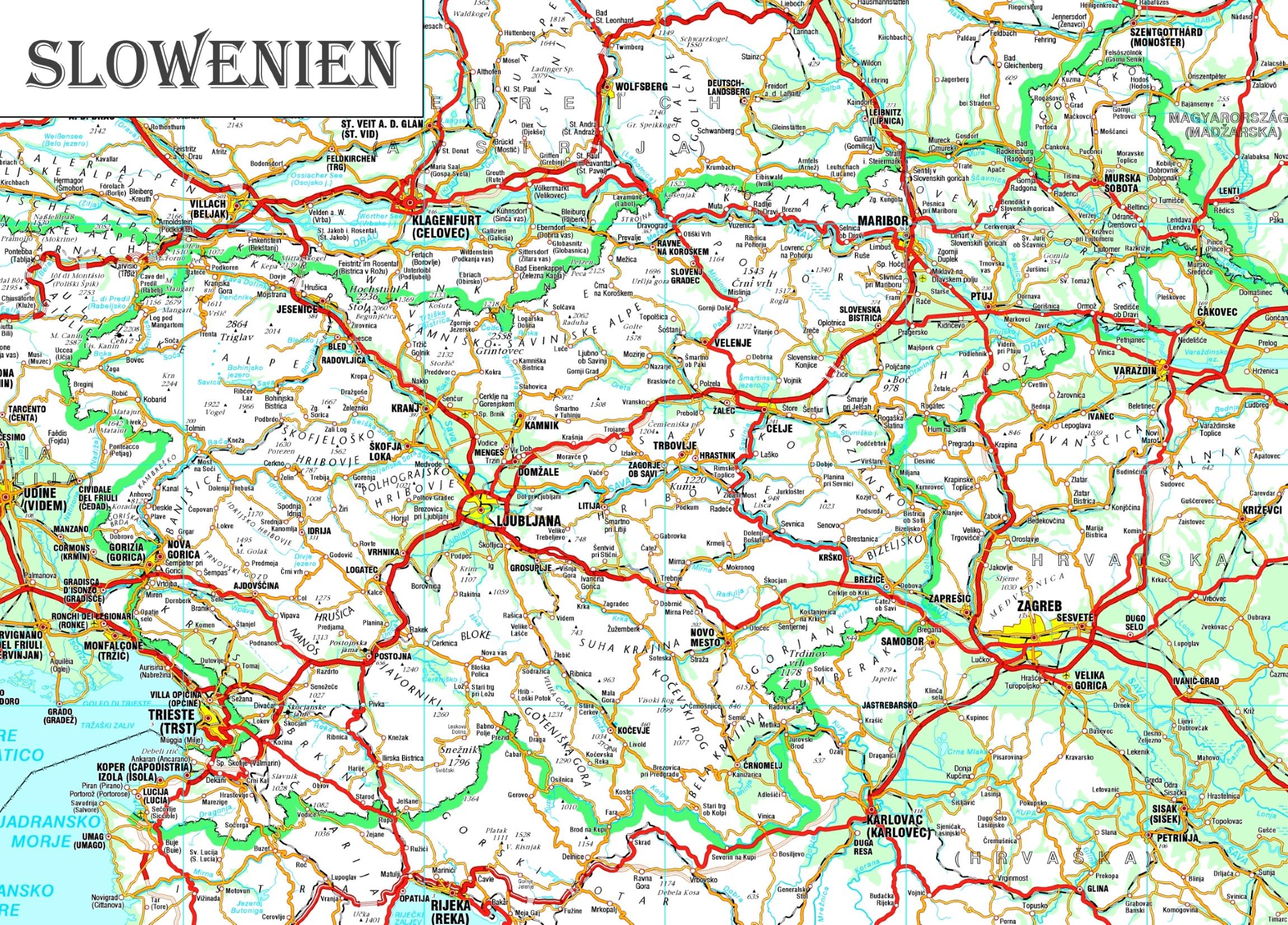 Grosse Detaillierte Karte Von Slowenien
