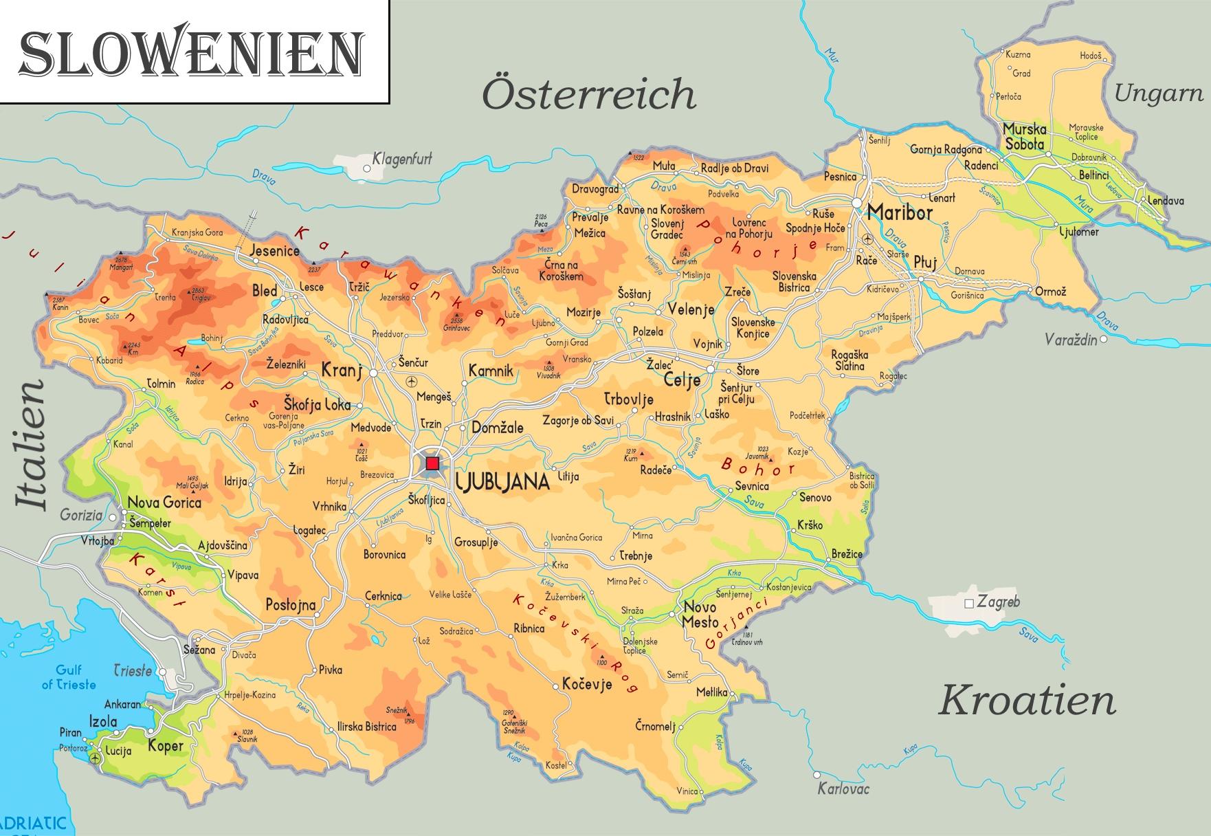 Physische Landkarte Von Slowenien