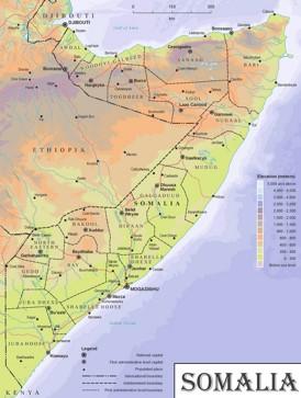 Physische landkarte von Somalia