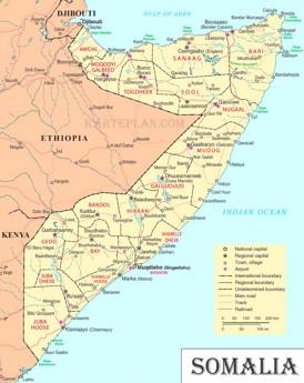 Straßenkarte von Somalia