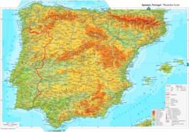 Physische landkarte von Spanien
