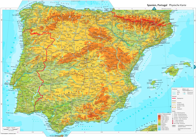 Spanische Karte.Physische Landkarte Von Spanien