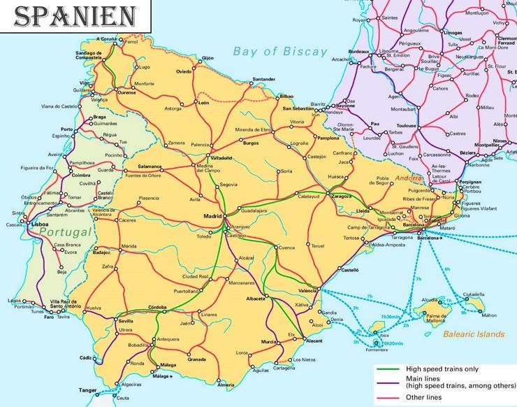 Schienennetz karte von Spanien